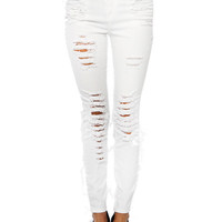 Papaya Clothing Online :: DESTROYED DENIM PANTS