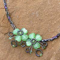 Peridot flower necklace - Lime Clover - NOVICA