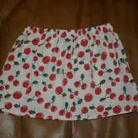 Girls Cherry Print Skirt Custom Size up to age 7