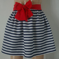 Girls Navy and White Stripe Skirt