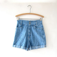 Vintage 80s blue jean shorts. high waisted shorts. cuffed shorts.