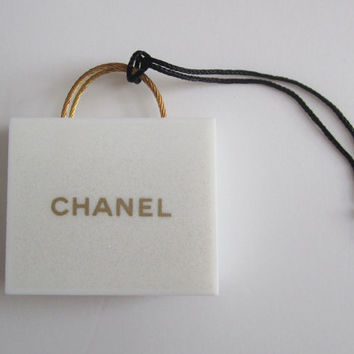 Authentic CHANEL Shopping Bag Ornament / Bag Charm / Key Chain / DIY Charm Pendant Brooch Pin Home Decor / Decoration *Rare*