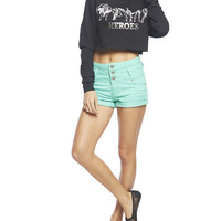 Blue Asphalt High Waisted Short | Wet Seal