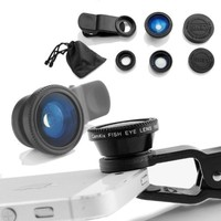 Universal 3 in 1 Camera Lens Kit for Smart phones (including iPhone, Samsung Galaxy, HTC, Motorola and More), Tablets, iPad, and Laptops includes One Fish Eye Lens / One 2 in 1 Macro Lens and Wide Angle Lens / One Universal Clip / One Microfiber Carrying B