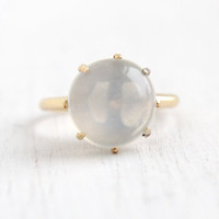 Antique Victorian 14k Yellow Gold Moonstone Ring- Vintage Size 5 1/4 Edwardian Early 1900s Clear Stone Fine Jewelry