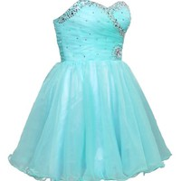 Faironly Aqua Mini Short Homecoming Prom Dress F2977
