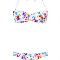 Delia's Pretty Floral Stripe Dot Twist Bandeau Bikini Top -