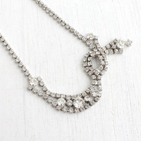Vintage Clear Rhinestone Necklace - 1950s Silver Tone Faux Diamond Costume Jewelry / Asymmetrical Sparkle