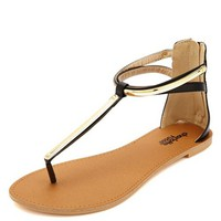 GOLD-PLATED T-STRAP THONG SANDALS