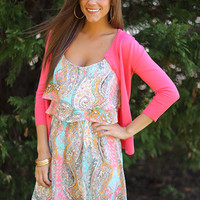 Pastel Love Dress, teal/coral