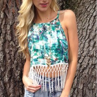 Fringe Frenzy Tank Green