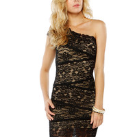 Papaya Clothing Online :: ONE SHOULDER LACY DRESS