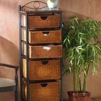 "52-1/4""H x 18""W x 13-1/4""D 5-Drawer Iron/Wicker Unit- Southern Enterprises, Inc.-For the Home-Decorative Storage-Baskets, Boxes & Trunks"
