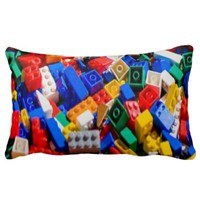Multi-Color Pile of Lego Building Blocks Pillow