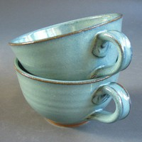 Set of 2 Soup Chowder Bowl Set Green Blue Pottery Stoneware Handles Mug Cup | TheMudPlace - Ceramics & Pottery on ArtFire