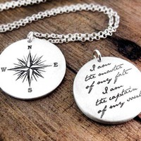 I am the master of my fate necklace Compass by lulubugjewelry