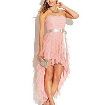 Teeze Me Juniors' Ruffled Sweetheart High-Low Dress