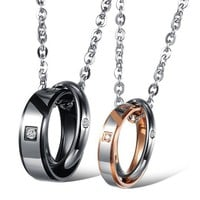 Interlocking Circles Perfect Couples Pendant Necklaces Gift for 2