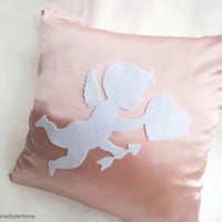 Cupid Sending Love Blush Pink And White Pillow Cover. Children Room Decor. Easter Gift. Color Choice