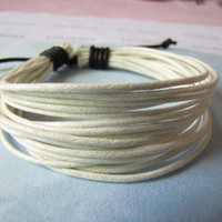 White ropes Adjustable Surf Hemp Leather Bracelet by sevenvsxiao