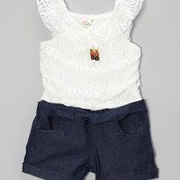 White Lace & Denim Romper - Infant, Toddler & Girls | Daily deals for moms, babies and kids
