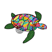 Sea Turtle Car Decal Colorful Triangle Geometric Pattern Beach Laptop Decal Bumper Sticker Green Yellow Pink Orange