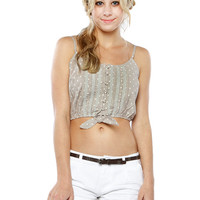 Papaya Clothing Online :: DOT FRONT BOW TRIMMING CROP TOP