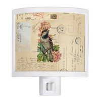 Vintage Bird Flowers French Postcards Night Light