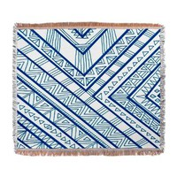 Blue Print Woven Blanket> Bedding> art by Erin Jordan