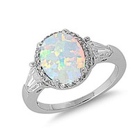 .925 Sterling Silver 14K White Gold Plated White Lap Opal CZ Diamond Engagement Ring For Women - Ring Size: 5