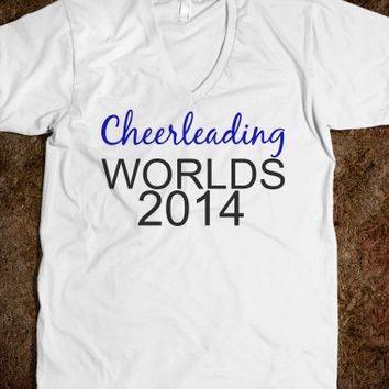 CHEERLEADING WORLDS 2014 UNISEX V-NECK TEE