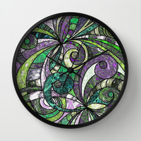 Drawing Floral Zentangle G207 Wall Clock by MedusArt