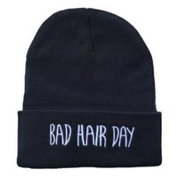 Winter Warm Knit Black Bad Hair Day Beanie Hat for Men and Women Winter Cap Skully Letter Beanie