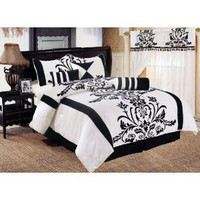 7 Pieces White with Black Floral Duvet Cover Set for Queen Size Bedding