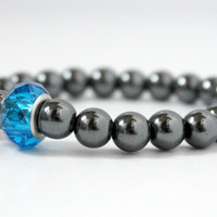 Beaded Hematite Ball Stretch Bracelet with Blue European Bead - Simple Handmade Jewelry - Rocker Style Jewelry - Ready to Ship