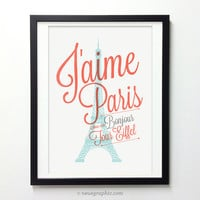 I Love Paris Poster - Eiffel Tower Wall Decor - France City Art