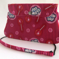 Blow Pop Clutch Purse / Lollipop Candy Shoulder Bag with Chain Strap / Pink Striped Cross Body / Bubblegum Bubbles