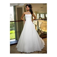 A-line Strapless Draped Satin Organdie Corset Wedding Dress