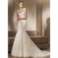 2012 V-Neck Appliqued Satin Net Wedding Gown