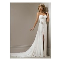 2014 Strapless Beaded Slit Chiffon Bridal Dress