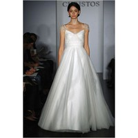 2014 Cap Sleeves V-Neck Satin Tulle Wedding Gown