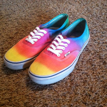 Tie-die Rainbow Vans Custom Made women's size 10.5 men's size 9