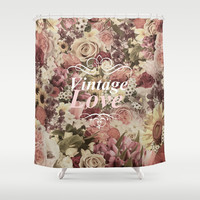 VINTAGE LOVE  Shower Curtain by Nika
