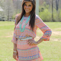 Moroccan Shift Dress, coral