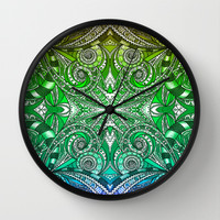 Drawing Floral Zentangle G206 Wall Clock by MedusArt
