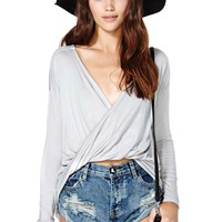 Nasty Gal Twisted Tee - Gray