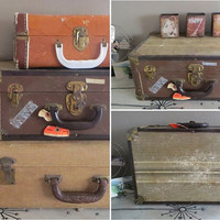 Vintage Suitcase Stackable Suitcase Small Suitcase Earth Tone Vintage Luggage Antique Luggage Rustic Home Decor Luggage Decor