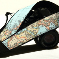 World Map Camera Strap. Canon Camera Strap. Nikon camera Strap. dSLR Camera Strap. Camera Accessories