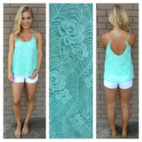 Lace To The Back Tank -MINT