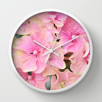 Pink Hydrangeas Wall Clock by Lisa Argyropoulos